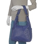 Blue Leather RFID Hobo Bag