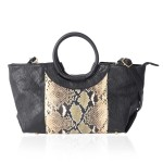 Black Snake Pattern Faux Leather Tote