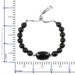 STS Closeout 96.15 ctw Black Jade Bracelet in Sterling Silver (10.00 In)