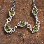 Simulated Green Diamond Bolo Bracelet in Stainless Steel and Sterling Silver