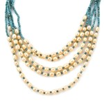 Simulated Pearl Earrings Bracelet and Multi Strand Necklace