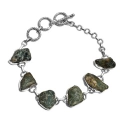 Artisan Crafted Rough Cut Grandidierite Bracelet