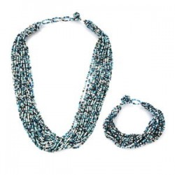 Blue Seed Beads Multi Strand Bracelet and Necklace