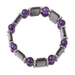 Magnetic by Design Hematite and Amethyst Stretch Bracelet