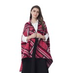Red Polyester and Acrylic Geometric Pattern Kimono