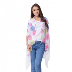 White, Multi Color Leaf Pattern Kimono