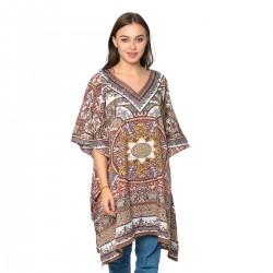 Brown Arabesque Digital Printed Kaftan