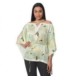 100% Mulberry Silk Green Floral Digitally Printed Kaftan