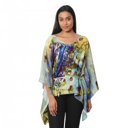100% Mulberry Silk Multi Color Peacock Digitally Printed Kaftan