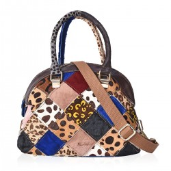 CHAOS BY ELSIE Multi Color Faux Fur, Leather Handbag