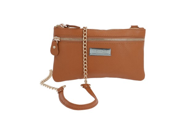 NEWAGE Tan Leather Wristlet with Chain Strap