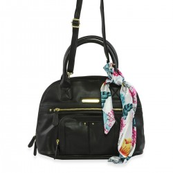 STONE MOUNTAIN Black Leather Plug In Nappa Navi Dome Satchel
