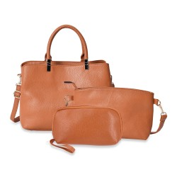 Set of 3 Camel Lichee Faux Leather Tote