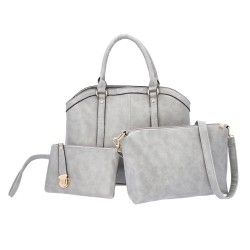 Set of 3 Gray Faux Leather Tote Cross-body Bag Wrist-let