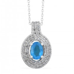 Malgache Neon Apatite and Cambodian Zircon Pendant Necklace