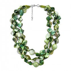 Green Shell and Simulated Pearl Multi-Layer Necklace