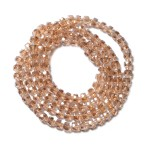 Champagne Facet Beaded Necklace 35 Inch