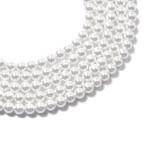White Glass Pearl Beads Multi Strand Necklace