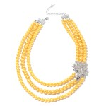 Golden Glass Pearl and White Austrian Crystal Charm Necklace