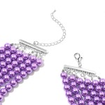 Purple Glass Pearl Earrings and Multi Strand Necklace
