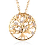 Diamond Pendant Necklace 20 Inch in Vermeil Yellow Gold