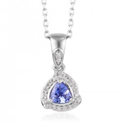 Tanzanite and Zircon Pendant Necklace 20 Inch