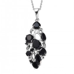 Natural Thai Black Spinel and Kanchanaburi Blue Sapphire Pendant Necklace