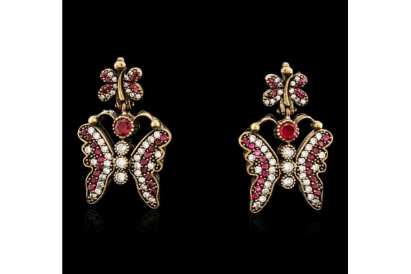 SILVER 4.58ctw Red Crystal and Cubic Zirconia Butterfly Earrings