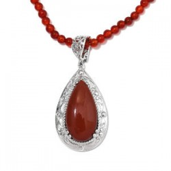 82.40 ctw Karis Red Jasper and Red Quartzite Pendant Necklace 20 inch in Platinum Bond Brass