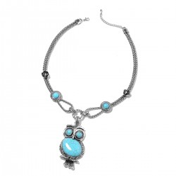 Blue Howlite and White Austrian Crystal Owl Necklace