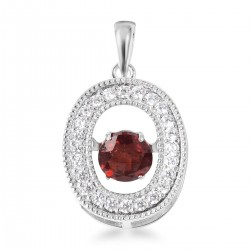 1.31 ctw Mozambique Garnet and Simulated Diamond Dancing Drop Pendant in Sterling Silver