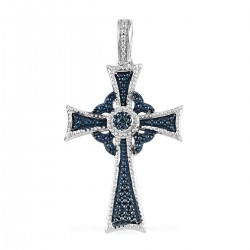 Blue Diamond Accent Cross Pendant